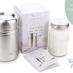 Yogurt Maker - Stainless Steel + Glass Jar + Recipe Book